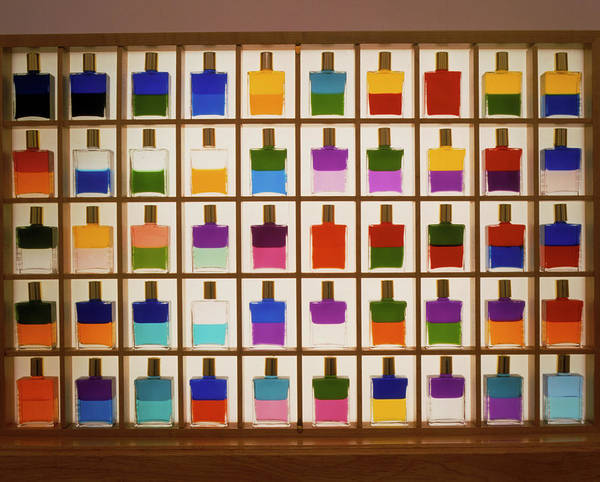 Wall Art - Photograph - View Of Bottles Used In Aura Soma Colour Therapy by David Parker/science Photo Library