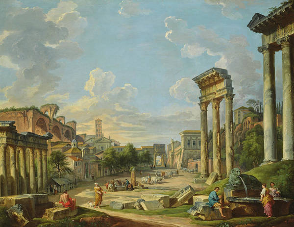 Portico Painting - View Of Campo Vaccino In Rome by Giovanni Paolo Panini