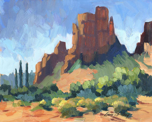 Desert Scene Painting - View Of Cathedral Rock Sedona by Diane McClary