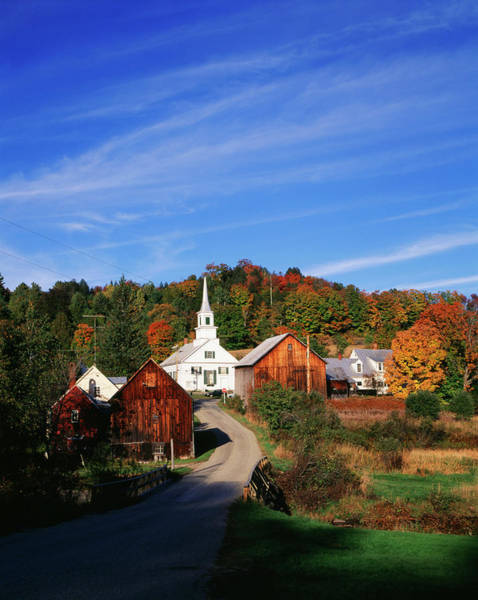 Barn Photograph - View Of Church And Barn In Autumn by Danita Delimont