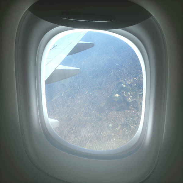 View Through Window Photograph - View Of City Through Aeroplane Window by Ktsdesign/science Photo Library