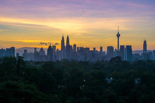 View Of Cityscape Against Sky During Sunset Art Print by Shaifulzamri Masri / EyeEm