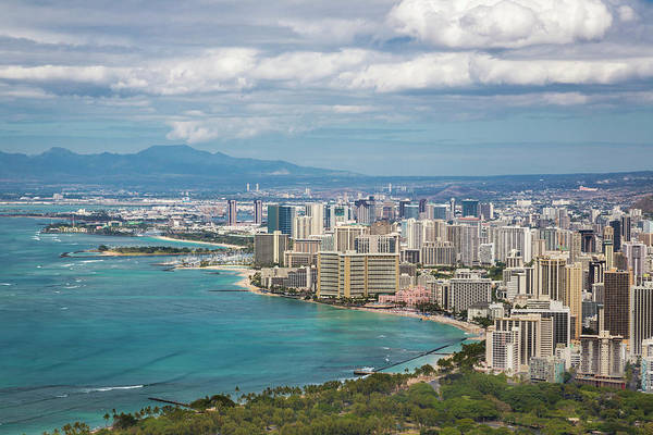 Wall Art - Photograph - View Of Downtown Honolulu Waikiki by Lynn Wegener