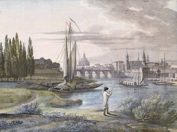 City Landscape Wall Art - Drawing - View Of Dresden And The River Elbe, 1806 by C. Roes