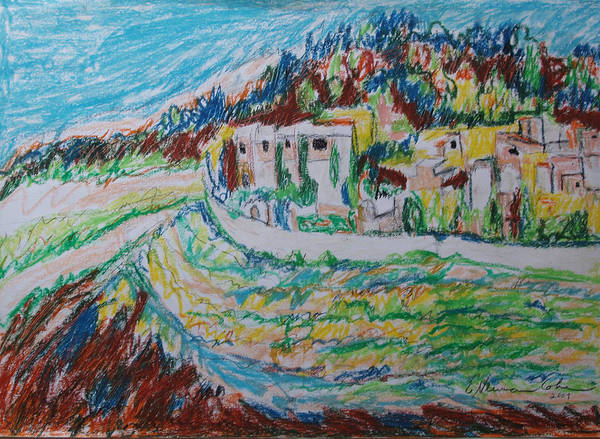 Spontaneous Drawing - View Of Ein Kerem Jerusalem by Esther Newman-Cohen