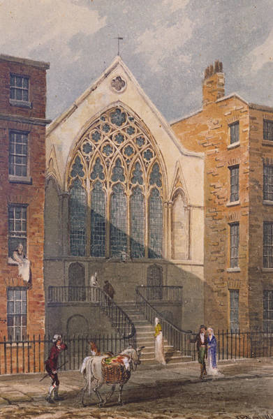 Ely Wall Art - Photograph - View Of Ely Chapel, 1815 Wc On Paper by J. P. Neale