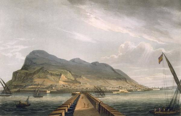 Pier Drawing - View Of Gibraltar by Thomas Whitcombe