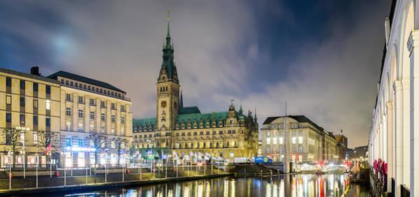 Rathaus Photograph - View Of Hamburg Rathaus At Dusk by Panoramic Images