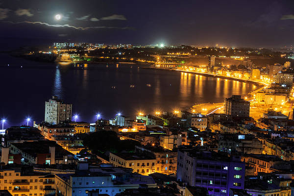 Wall Art - Photograph - View Of Havana City At Night by Levin Rodriguez