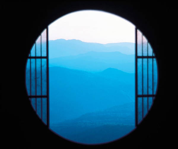 View Through Window Photograph - View Of Hazy Blue Mountain Ranges by Panoramic Images