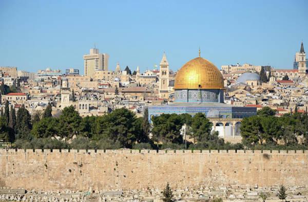 Jerusalem Photograph - View Of Jerusalem Skyline From Mount Of by Madzia71