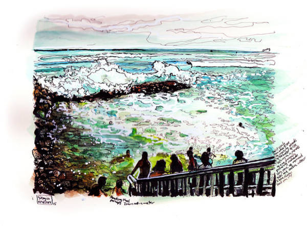 Oahu Drawing - View Of Kakaako Park by Sergio Garzon