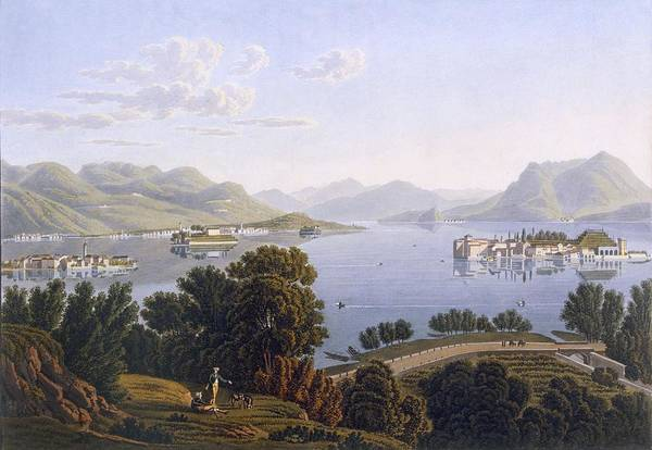 Soldier Drawing - View Of Lake Maggiore And The Borromean by Swiss School