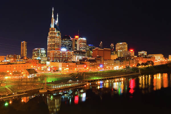 Cumberland Photograph - View Of Lit Nashville Skyline At Night by Davel5957