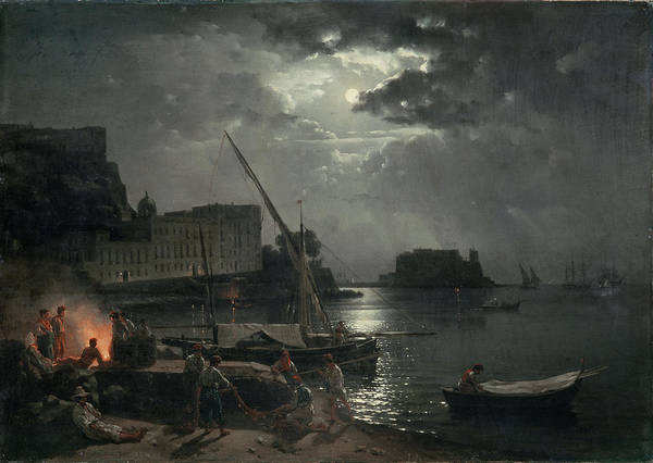 Full Moon Night Painting - View Of Naples In Moonlight by Silvestr Fedosievich Shchedrin
