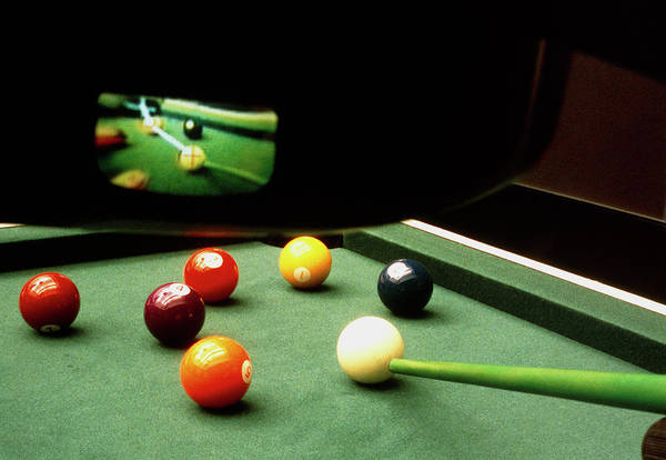 Pool Table Photograph - View Of Pool Shot Aided By Virtual Reality Goggles by Sam Ogden/science Photo Library
