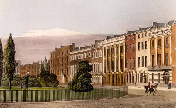 Georgian Drawing - View Of Portman Square, North Side, 1816 by Rudolph Ackerman