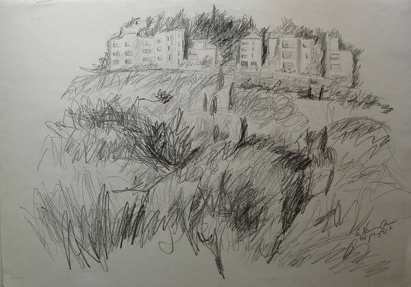 Spontaneous Drawing - View Of Rechavia Jerusalem by Esther Newman-Cohen