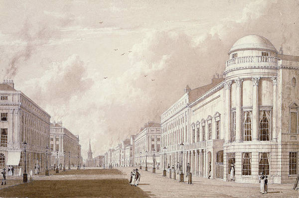 Street Scenes Photograph - View Of Regent Street, 1825 Ink Pencil Wash On Paper by English School