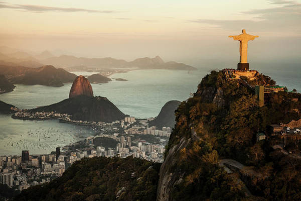 Outdoors Photograph - View Of Rio De Janeiro At Sunset by Christian Adams