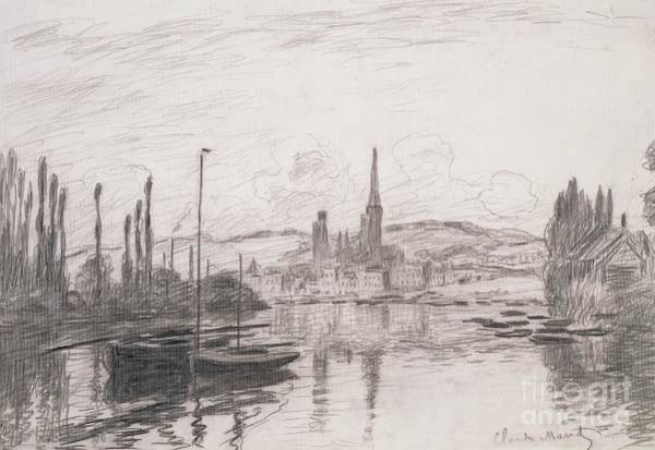 Crayon Drawing - View Of Rouen by Claude Monet