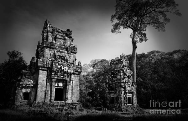 Photograph - View Of Ruins In Black And White by Julian Cook