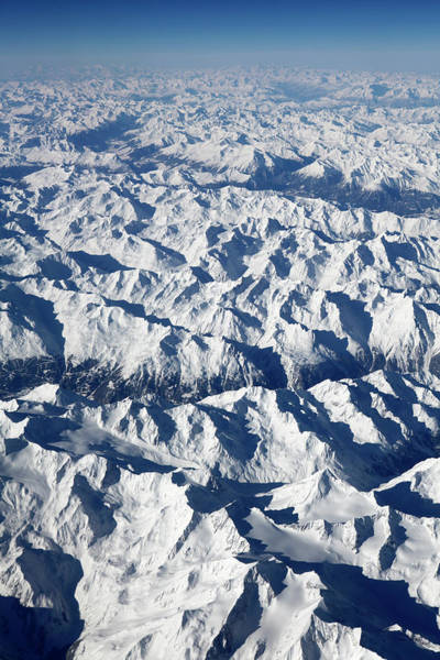 Vertical Perspective Photograph - View Of Snowy Alps, Switzerland by Marc Volk