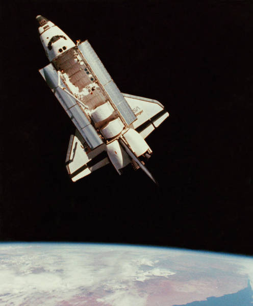 Mission Bay Photograph - View Of Space Shuttle From Above by Nasa/science Photo Library