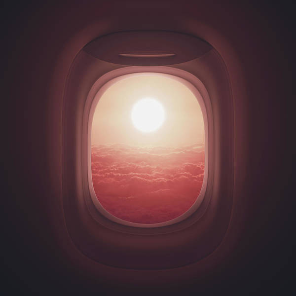 View Through Window Photograph - View Of Sunset Through Aeroplane Window by Ktsdesign/science Photo Library