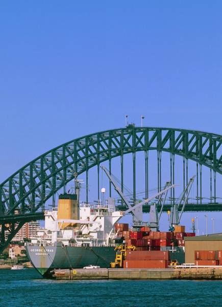 Freight Transport Wall Art - Photograph - View Of Sydney Harbour Showing Steel Bridge. by Alex Bartel/science Photo Library