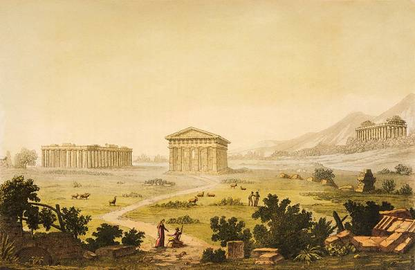 Campania Wall Art - Painting - View Of Temples In Paestum At Syracuse by Giulio Ferrario