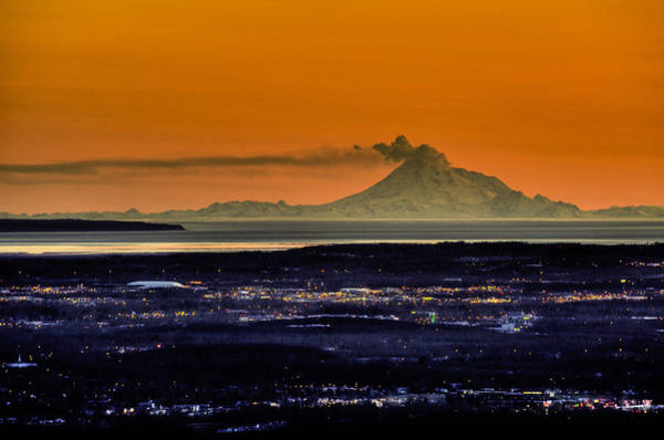 Mount Redoubt Photograph - View Of The Anchorage Skyline At Sunset by Michael Jones