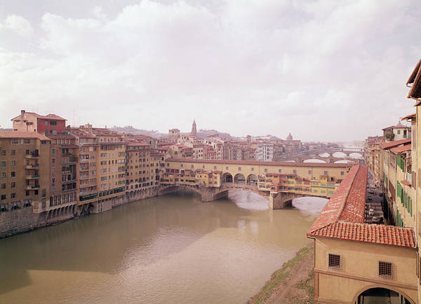 Wall Art - Photograph - View Of The Arno And The Ponte Vecchio Photo by Italian School