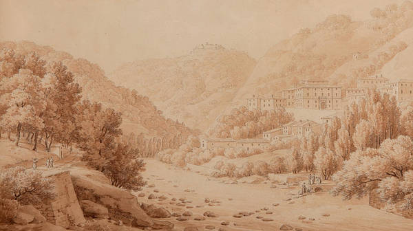 Tuscan Painting - View Of The Baths Of Lucca by Constant Bourgeois du Castelet