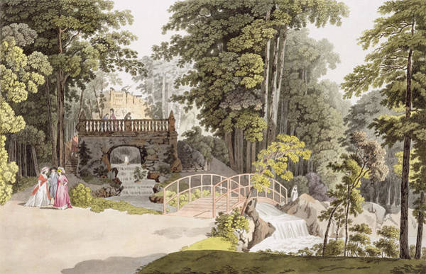 Austrian Drawing - View Of The Cascade At Erlaw, Vienna by Laurenz Janscha