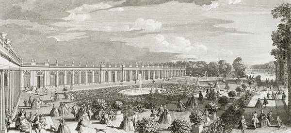Courtiers Drawing - View Of The Chateau De Trianon by Jacques Rigaud