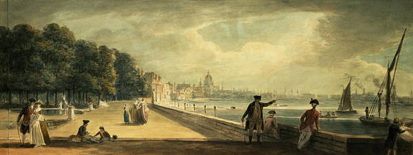 Promenade Photograph - View Of The City From The Terrace Of Somerset House Wc On Paper by Paul Sandby