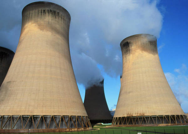 Coals Wall Art - Photograph - View Of The Cooling Towers Of Drax Power Station by Garry Watson/science Photo Library