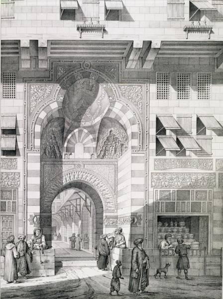 Portals Wall Art - Drawing - View Of The Door Of Okal Kaid-bey by Pascal Xavier Coste