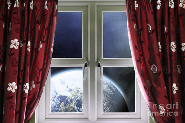 Window Dressing Wall Art - Photograph - View Of The Earth Through A Window With Curtains by Simon Bratt Photography LRPS