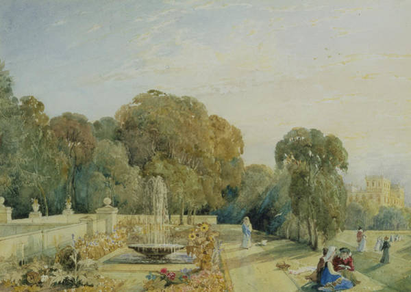 Botanical Garden Drawing - View Of The Gardens At Chatsworth by Frances Elizabeth Swinburne