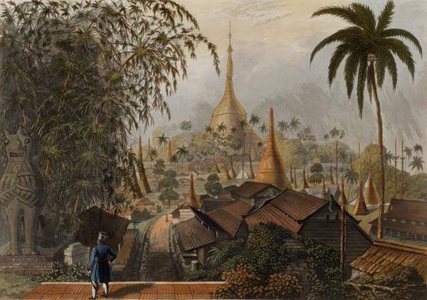 Palm Trees Drawing - View Of The Great Dagon Pagoda by Joseph Moore
