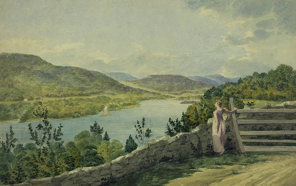 Old West Drawing - View Of The Hudson Circa 1817 by Aged Pixel