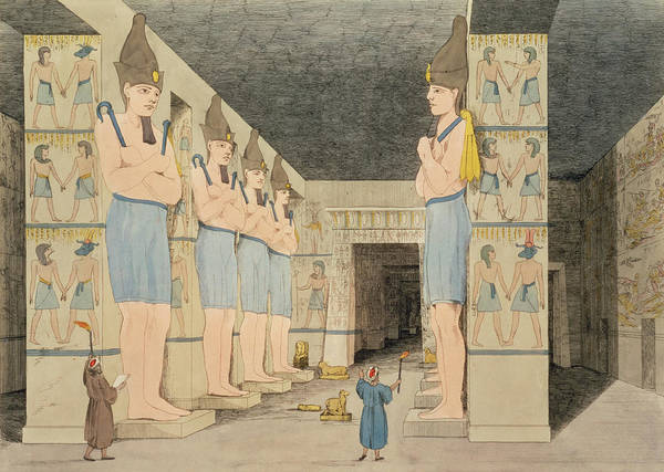 Ancient Egypt Drawing - View Of The Interior Of The Temple by Giovanni Battista Belzoni