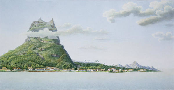 Tropical Drawing - View Of The Island Of Bora Bora by Antoine Lejeune and Chazal
