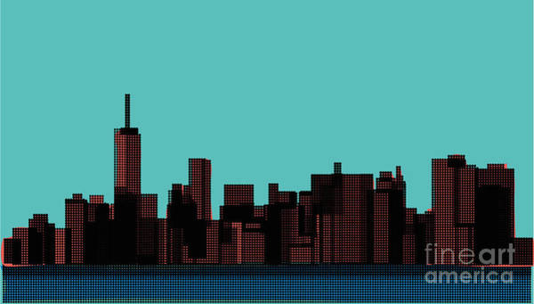Blue Sky Digital Art - View Of The Manhattan In The Pop Art by Finlandi