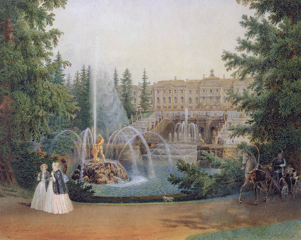 Lion Statue Wall Art - Painting - View Of The Marly Cascade From The Lower Garden Of The Peterhof Palace by Vasili Semenovich Sadovnikov