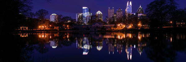 Fulton County Photograph - View Of The Midtown Skylines And Lake by Panoramic Images