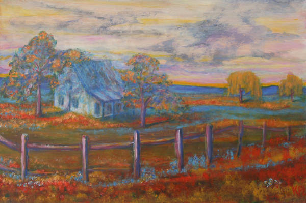 Painting - View Of The Old Farmhouse by Kathy Peltomaa Lewis