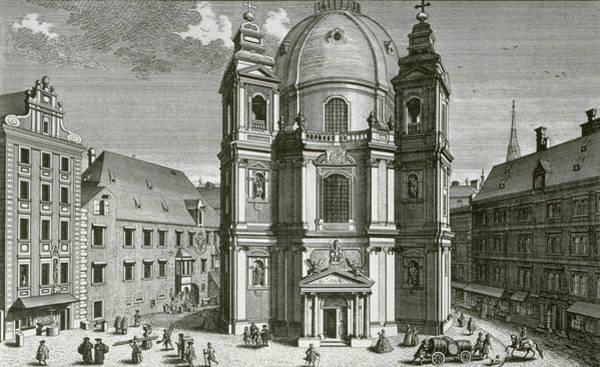 Print Drawing - View Of The Peterskirche, Vienna Engraved By Johann Bernard Hattinger by Salomon Kleiner